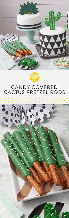 These Candy-Covered Cactus Pretzel Rods make a great treat or snack for a tropical or desert-themed birthday party. Make these using Dark Green Candy Melts candy for a fast and easy dessert or party favor. Sprinkle dipped pretzels with pearlized white jimmies to create cactus spikes! #wiltoncakes #pretzels #candymelts #desserts #ideas #inspiration #succulents #succulentideas #succulentparty #succulentcake #succulentplant #birthday #birthday #birthdayparty #birthdayideas