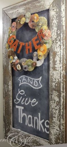 Thanksgiving Chalkboard Decor with scrap paper wreath and glittered letters