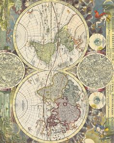 #World #Map with Two Hemisphaeres and Two Smaller Celestial…