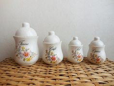 French style/ vintage kitchen/french decor /spice jars /French canisters from Salins set of 5 spice