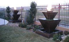 Double Oblique fountain with fire