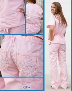 """The unique features of our PosieScrubs help to eliminate that """"frumpy"""" look of other scrubs while the details on the pockets and the cut of the top & pant give them a stylish look while remaining comfortable and durable. Visit us at www.kimkaps.com to order your very own pair of PosieScrubs!"""