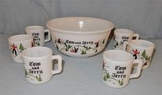 UNUSUAL HAZEL ATLAS TOM AND JERRY SET PUNCH BOWL AND 6 CUPS MARKED SKIERS