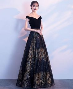 Bling Bling Navy Blue Evening Dresses 2018 A-Line / Princess V-Neck Short Sleeve Gold Glitter Tulle Floor-Length / Long Backless Formal Dresses Grey Evening Dresses, Elegant Dresses, Pretty Dresses, Evening Gowns, Beautiful Dresses, Formal Dresses, Homecoming Dresses, Bridesmaid Dresses, Fairy Dress