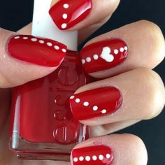 heart and dots cute Red And White Nail Art Designs Heart Nail Designs, Valentine's Day Nail Designs, Cute Nail Art Designs, Simple Nail Designs, Nail Polish Designs, Nails Design, Red And White Nails, White Nail Art, Blue Nails