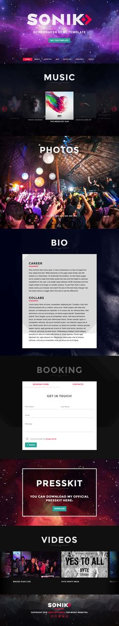 'Sonik' is a niche One Page HTML template targeted at DJs, Producers or Musicians. The long scrolling responsive template features a sticky navigation where you can smooth scroll to the relevant sections in the page. Other features include big image photo gallery, music/album slider (with SoundCloud integration), bio, video slider, press kit download and booking form.