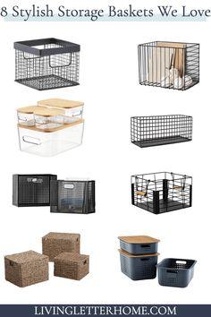 8 stylish storage baskets you will LOVE! - Living Letter Home Storage Bins With Lids, Wire Basket Storage, Wire Storage, Storage Boxes, Home Decor Baskets, Basket Decoration, Black Wire Basket, Best Closet Organization, Pantry Labels