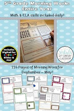 This bundle includes 5th-grade morning work worksheets for the entire year! Math and language arts activities are featured every day. All morning work worksheets are offered in both PDF and digital format. #vestals21stcenturyclassroom  #5thgrademorningwork #5thgrademorningworkworksheets #5thgrademorningworklanguagearts #5thgrademorningworkmath #5thgrademorningworkideas
