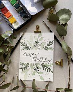 Watercolor Birthday Cards, Birthday Card Drawing, Birthday Card Design, Watercolor Cards, Watercolour, Handmade Birthday Cards, Happy Birthday Cards, Cute Cards, Diy Cards