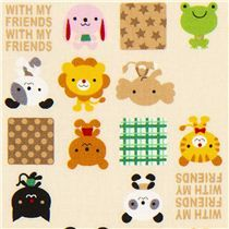 animal fabric by Kokka with frog lion bear elephant