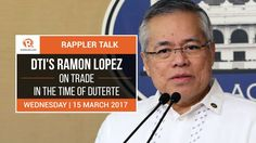Rappler Talk: DTI's Ramon Lopez on trade in the time of Duterte - WATCH VIDEO HERE -> http://dutertenewstoday.com/rappler-talk-dtis-ramon-lopez-on-trade-in-the-time-of-duterte/   Trade secretary Ramon Lopez talks about how the government plans to empower micro and small-medium enterprises. Watch it on Rappler:  Follow Rappler on Social Media: Facebook – Twitter – Instagram – YouTube – SoundCloud – Google+ – Tumblr –  News video...