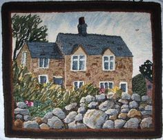 hooked rugs | www.artslinkwv.or... kudos to the artist love the stones