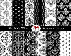 Damask digital paper Damask black and white fabric print by DIGIFT