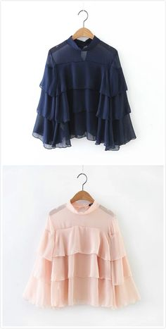 Prepare for warm spring. Sheer Chiffon Ruffled Blouse, which go with everything from formal skirt to casual jeans.