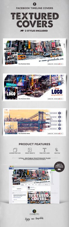 Textured Facebook Timeline Covers Template PSD #design Download: http://graphicriver.net/item/textured-facebook-timeline-covers/14440949?ref=ksioks