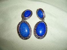 Vintage Blue Oval Drop  Clip on  earrings #Unbranded #DropDangle