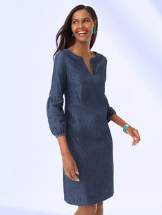 We've taken an easy-to-wear shift dress and made it chic and modern. This comfortable dress will be your go-to all season long. Pair it with colorful jewelry and strappy sandals for ready-for-anywhere style. | Talbots