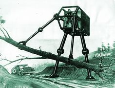 """Even dead trees cannot withstand it! Here we see an image from 1960 of """"a giant robot maneuvered by a human driver … currently being planned by the US Army.""""  According to GE Reports, General Electric developed this and other designs for the U.S. Army, who wanted a walking vehicle capable of navigating rough, steep terrain."""