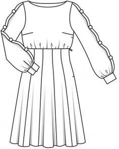 Платье с завышенной талией - выкройка № 123 из журнала 12/2015 Burda – выкройки платьев на Burdastyle.ru
