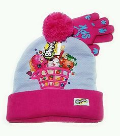 fb054eceaeb Shopkins Girls Winter Hat Cap Mittens Gloves One Size Protective Head Gear  SPK