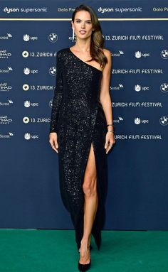 Alessandra Ambrosio in a black sequin one-shoulder dress