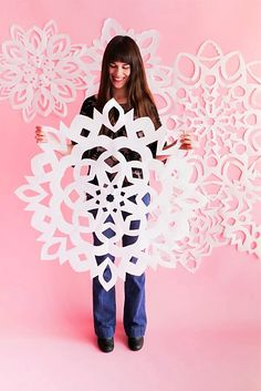 From giant paper snowflakes to snowflake chandeliers here are The 11 Best DIY Snowflake Crafts to create a winter wonderland. From giant paper snowflakes to snowflake chandeliers here are The 11 Best DIY Snowflake Crafts to create a winter wonderland. Paper Snowflake Patterns, Snowflake Craft, Paper Snowflakes, Snowflake Party, Paper Patterns, Noel Christmas, All Things Christmas, Winter Christmas, Christmas Snowflakes