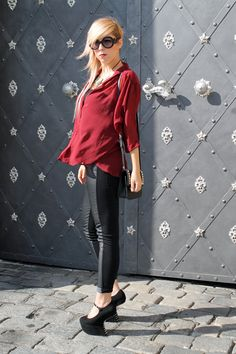 Red Leather, Leather Jacket, Prague, Den, Tube, Chic, Makeup, Jackets, Fashion