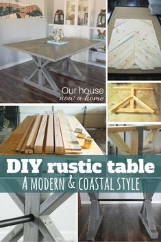 DIY rustic table - How to create this table with a modern and coastal flair. Not your Grandma's farmhouse table!