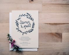 rustic kraft white or ivory // floral leafy wedding invitation sample // the seattle // black hand drawn wreath