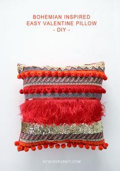 Bohemian Inspired Valentine Ribbon Pillow DIY