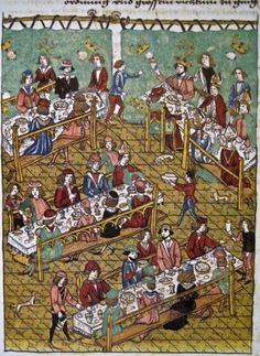 Image from the Zurich Schilling chronicle, of the banquet that Charles gave for Frederick III during their meeting at Trier.