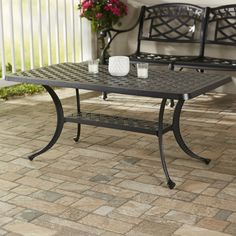 Premium Lomax Cast Aluminum Rectangular Coffee Table By Darby Home Co Deals Solid Wood Coffee Table, Outdoor Coffee Tables, Glass Top Coffee Table, Patio Tables, Coffe Table, Luxury Home Furniture, Metal Side Table, Aluminum Table, Solid Wood Dining Table