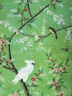 To see how far we've come — or not — in terms of design, I offer this detail of a Chinese wallpaper panel delivered in 1753 for a room in a chateau in France with its cherry blossoms, birds, butterflies and branches.