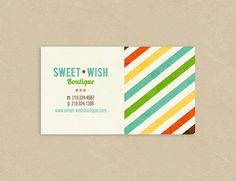 Printable Business Card Modern Diagonal Stripes  by seedtosprout