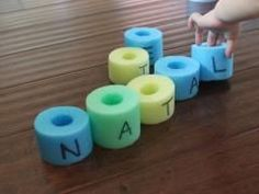 Great way to practice spelling words or a child's name- cut up a pool noodles and write letters on each piece for the student to put in order.