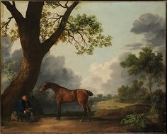 George Stubbs (British, 1724–1806). The Third Duke of Dorset's Hunter with a Groom and a Dog, 1768. The Metropolitan Museum of Art, New York. Bequest of Mrs. Paul Moore, 1980 (1980.468) | Stubbs's cool and accurate portraits of wild animals, dogs, and most notably horses with their owners, trainers, riders, or stable hands, appealed to and were much sought after by prominent sporting enthusiasts. #dogs