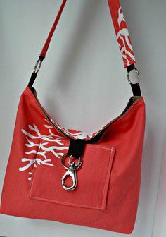Hobo Style Handbag , fabric Purse, Cotton Canvas, Duck Cloth in Coral Coral. $62.00, via Etsy.