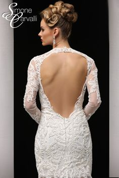 Simone Carvalli wedding gown - battenburg lace wedding dress with illusion skirt, long sleeves, open keyhole back, and sweetheart neckline.