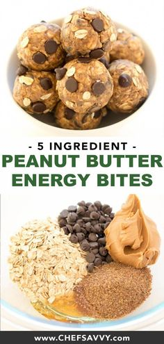 Quick and Healthy 5 Ingredient Peanut Butter Energy Bites. Takes less than 10 minutes to make with only 5 ingredients! The perfect healthy snack! Plats Healthy, Healthy Protein, Protein Packed Snacks, Healthy Energy Bites, Protein Bites, Peanut Butter Energy Bites, Snacks Saludables, Healthy Sweets, Nutritious Snacks