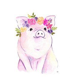 Piglet printable floral pig art pig watercolor flower