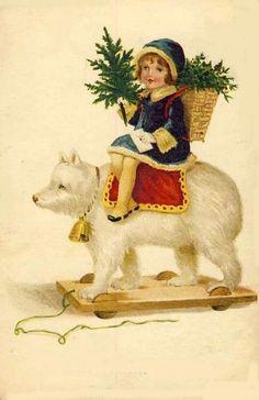 Vintage Christmas child on toy bear holding tree