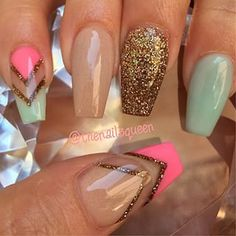 Nude: Nude Dolyy Pink Verde: Pastel Bahamas Rosa: So Stramberry Dourado: Glimmer Source by Get Nails, Fancy Nails, Love Nails, How To Do Nails, Fabulous Nails, Gorgeous Nails, Pretty Nails, Amazing Nails, Uñas Fashion