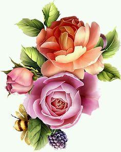 Decoupage Vintage, Vintage Diy, Victorian Flowers, Vintage Flowers, Vintage Flower Tattoo, Flower Phone Wallpaper, Flower Clipart, Bunch Of Flowers, Botanical Flowers