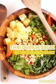 Enjoy this vegan and gluten-free Thai Salad. Tossed with pineapple carrots and bell peppers and dressed with Spicy Peanut Sauce for a wholesome and satisfying meal that everyone will love. Chicken Salad Recipes, Healthy Salad Recipes, Lunch Recipes, Healthy Snacks, Healthy Appetizers, Healthy Eats, Spicy Peanut Sauce, Vegan Main Dishes, Veggie Dishes