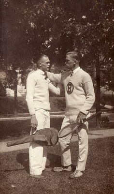 Two young men with tennis racquets, circa 1920 | Flickr - Photo Sharing!