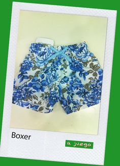 Boxer tela flores azules