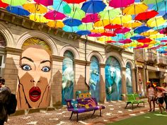 The city of Águeda has always been known for its booming industry and business, especially the metalworkers. Umbrella Street, White Umbrella, Lombard Street, Art Installation, Flower Power, Colorful Umbrellas, Art Festival, Public Art, Travel Around The World
