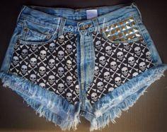 Skull shorts Levis High waisted denim shorts Studded Grunge Gothic Hipster Tumblr Clothing