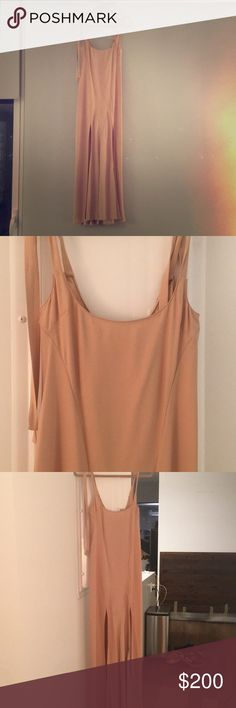 Attico Blush Slip Dress - Never Worn, With Tags Stunning Attico dress in silk crepe. Fully lined. Tie straps and delicate slits up sides. Plunge back. Never worn, tags still on. One season old. Italian size 40 (US 4) attico Dresses Maxi