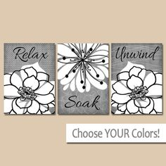 Bathroom WALL Art Canvas or Print Relax Soak Unwind Quotes, Flower Bathroom Decor, Matching Home Decor, Rustic Farmhouse Bathroom Set of 3